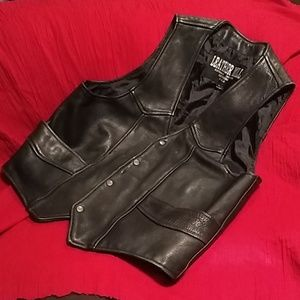 Black leather vest Larger